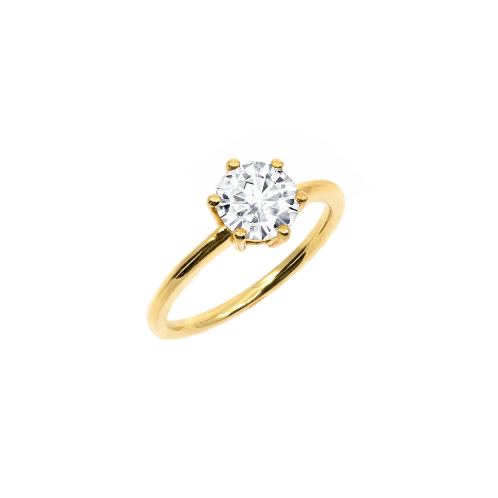 The Round Moissanite Engagement Ring // Gold