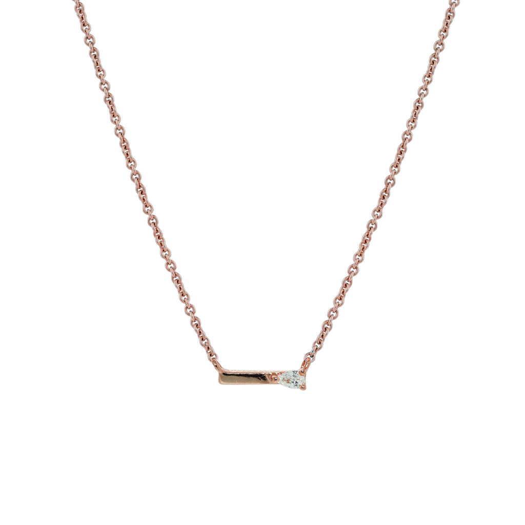 Dewdrop Diamond Necklace // Rose Gold - Lucy & Mui