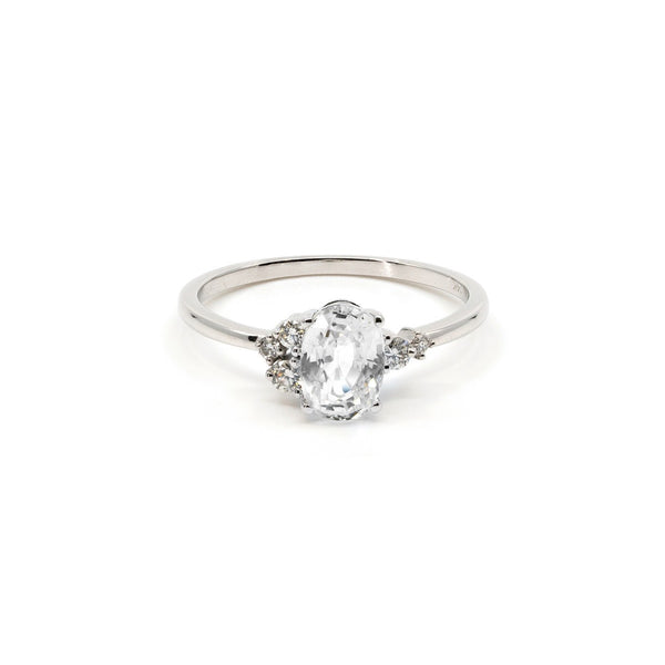 Willow Ivory Sapphire Diamond Ring // White Gold