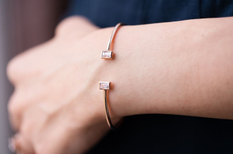 Monroe Sapphire Baguette Bangle // Rose Gold