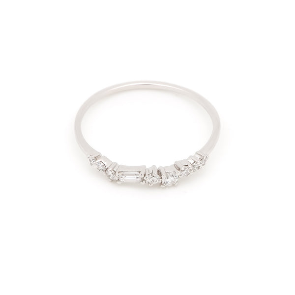 Aura Diamond Wedding Band // White Gold