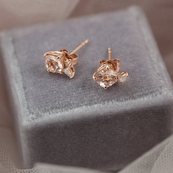 Blossom Diamond Earrings // Rose Gold - Lucy & Mui