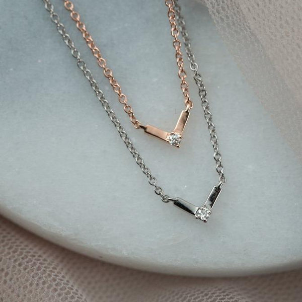 Silk Diamond Necklace I // Rose Gold - Lucy & Mui