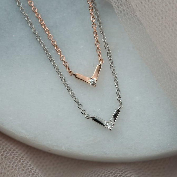 Silk Diamond Necklace I // White Gold - Lucy & Mui
