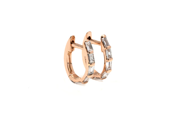 Grande Channel Baguette Diamond Hoops // Gold