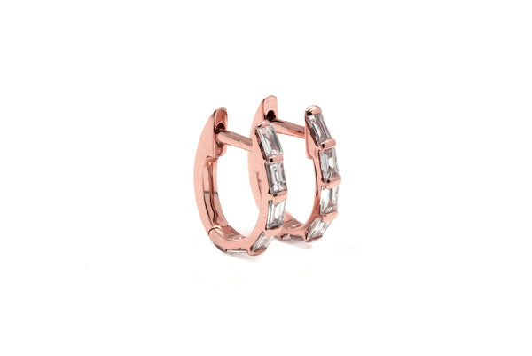 Grande Channel Baguette Diamond Hoops // Rose Gold