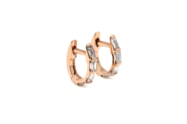 Petite Channel Baguette Diamond Hoops // Gold