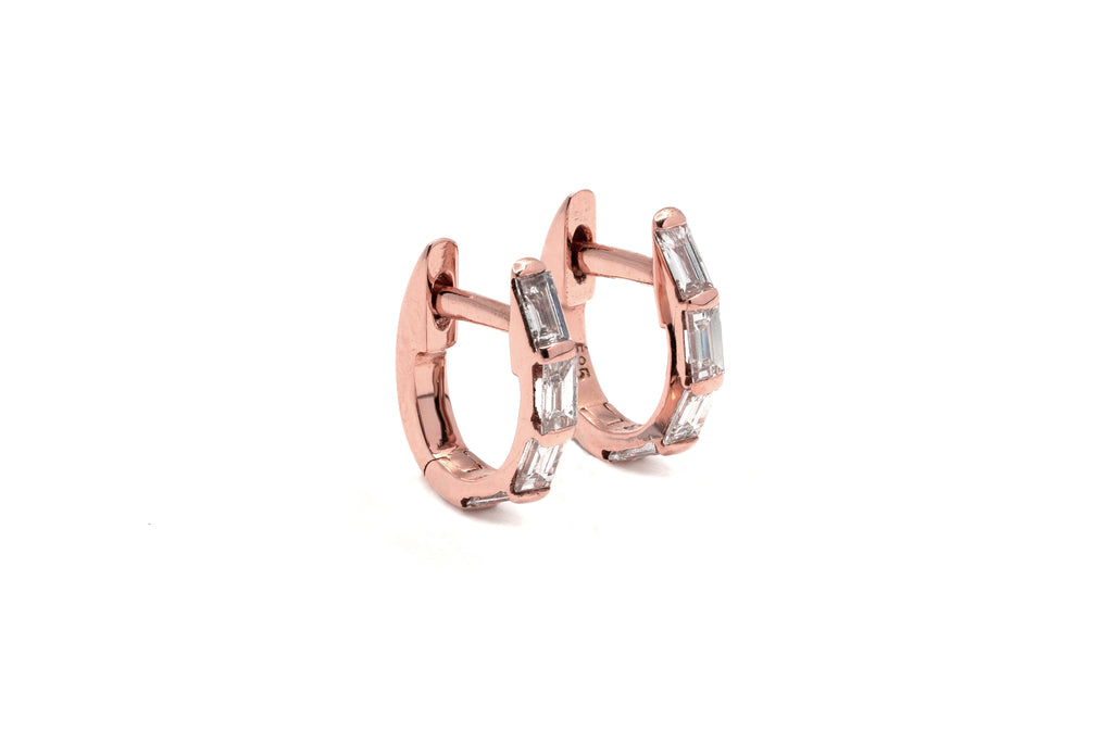 Petite Channel Baguette Diamond Hoops // Rose Gold
