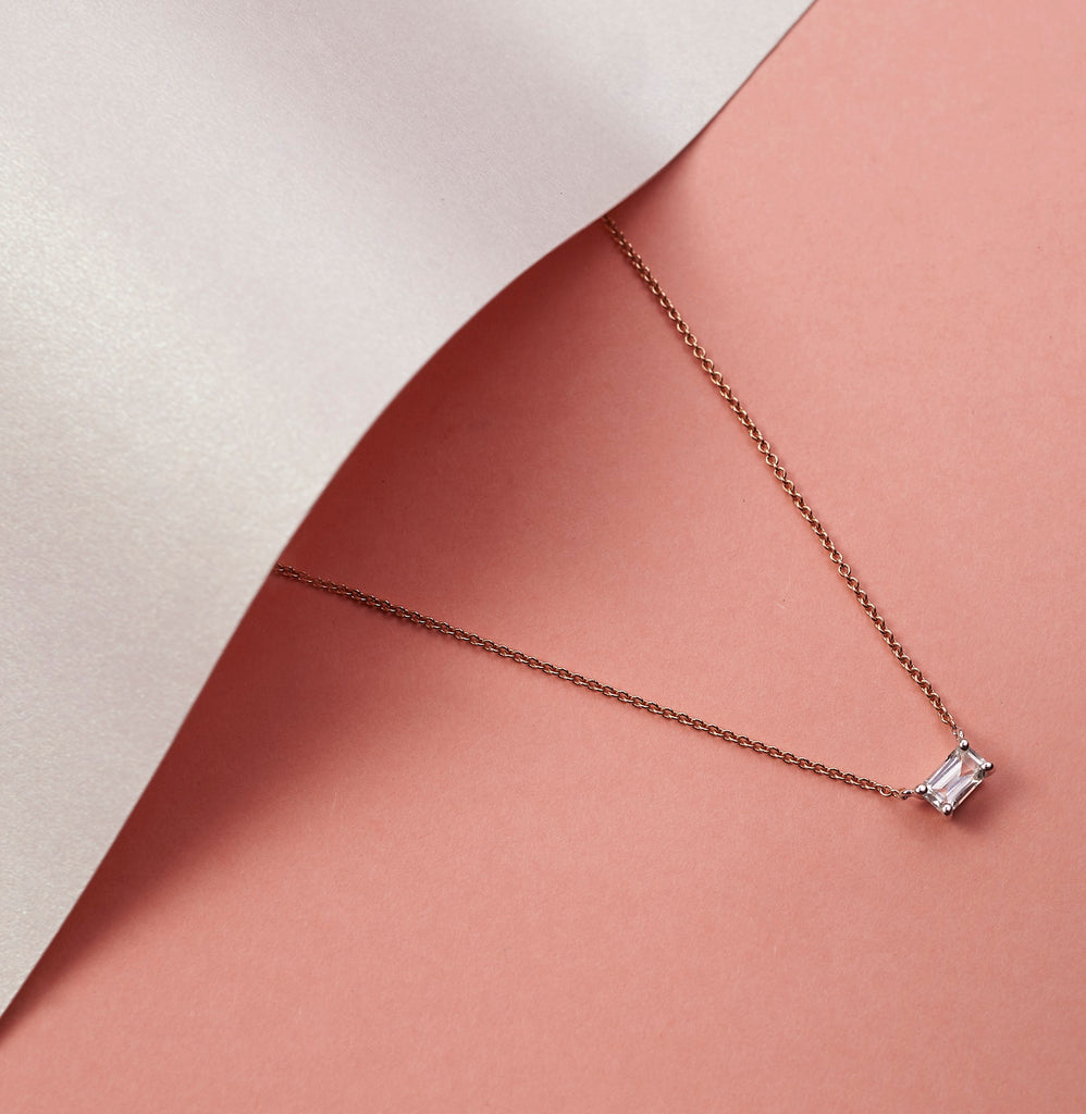 Octagon Sapphire Necklace // Rose Gold
