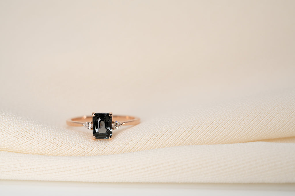 Midnight Spinel Diamond Ring // Rose Gold