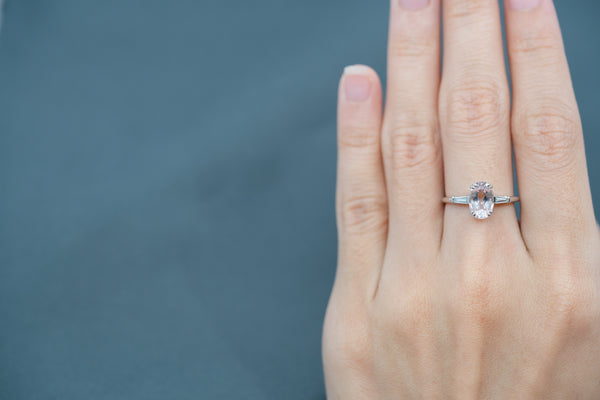 Emerson Morganite Tapered Diamond Ring // White Gold