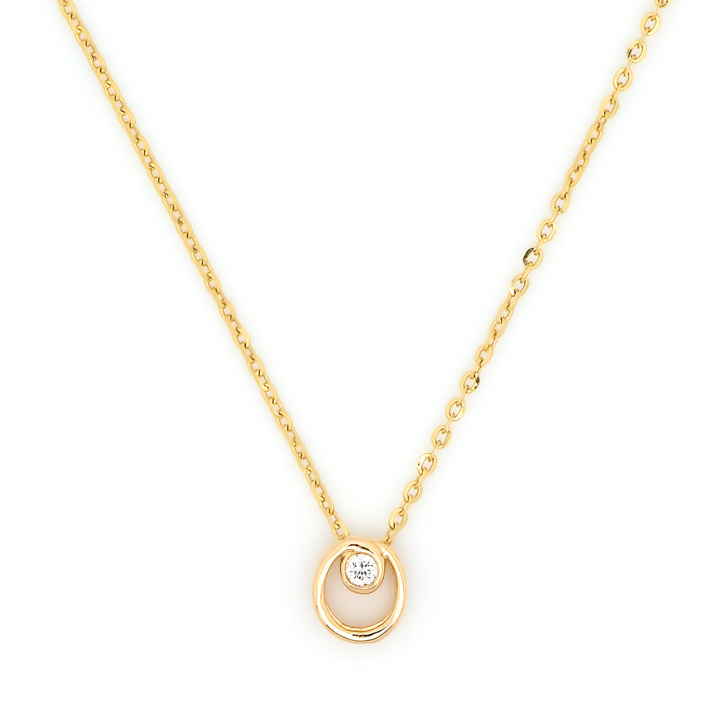 Circle Accent Diamond Necklace // Gold