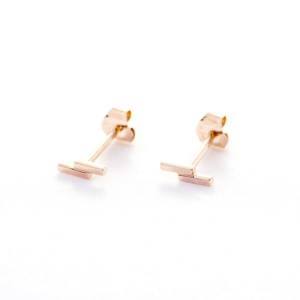 Duo Bar Studs // Rose Gold