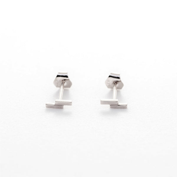 Duo Bar Studs // White Gold