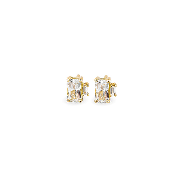 Sapphire Baguette Diamond Earrings // Gold
