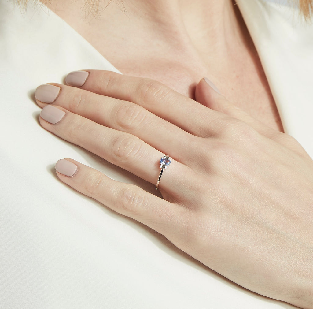 Large Sapphire Baguette Diamond Ring // Rose Gold