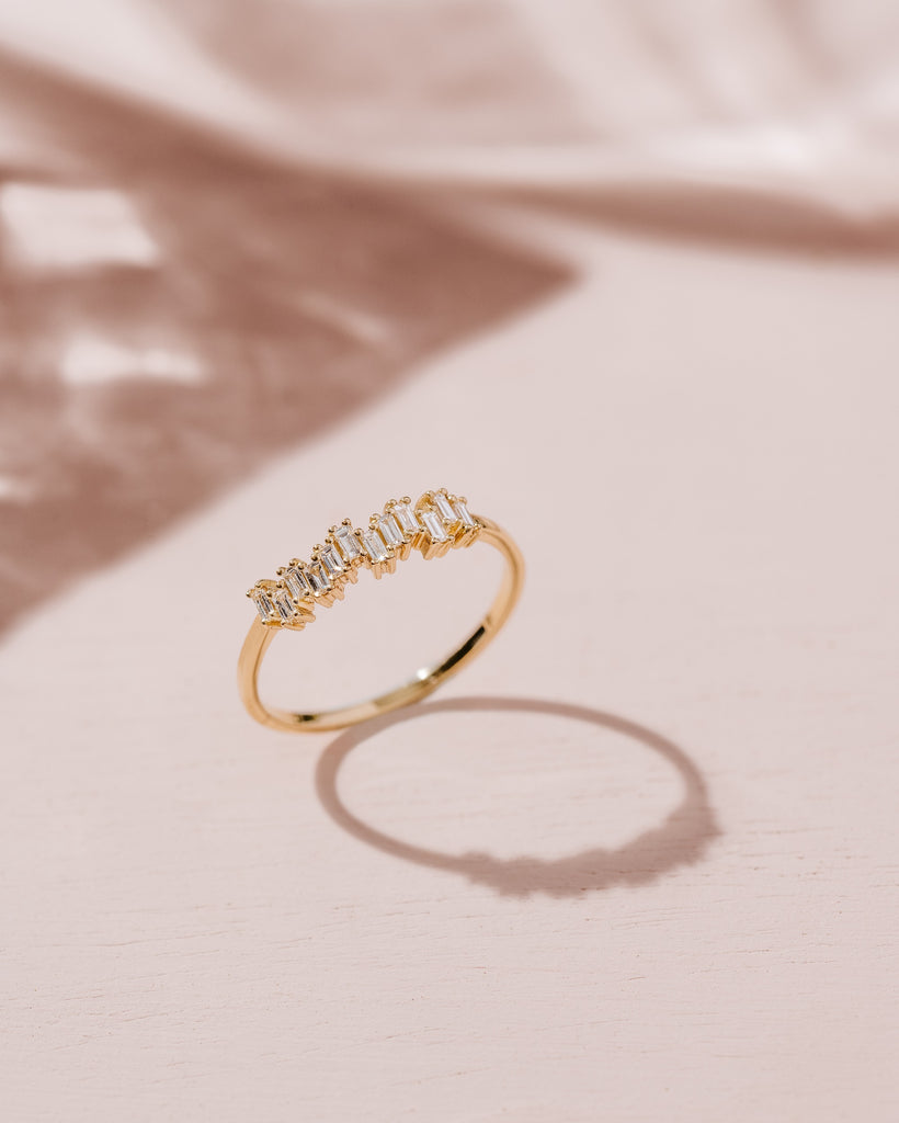 Step Baguette Diamond Wedding Band // Rose Gold