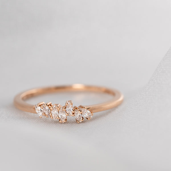 Graduated Marquis Diamond Wedding Band // Gold