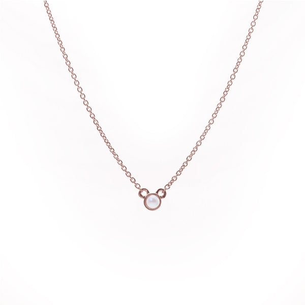 Petite Pearl Necklace // Rose Gold