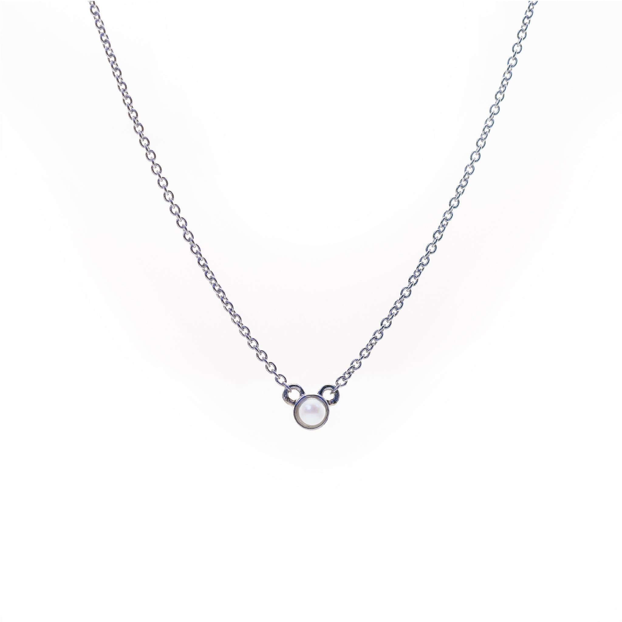 Petite Pearl Necklace // White Gold