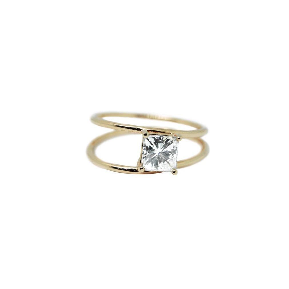 Melody Moissanite Engagement Ring // Gold - Lucy & Mui