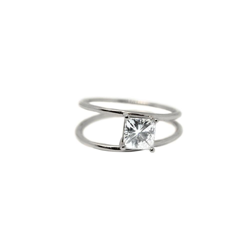 Melody Moissanite Engagement Ring // White Gold
