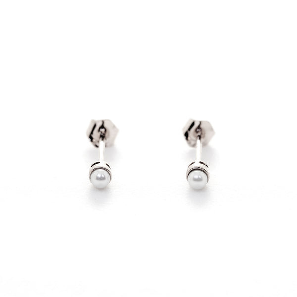 Petite Pearl Studs // White Gold