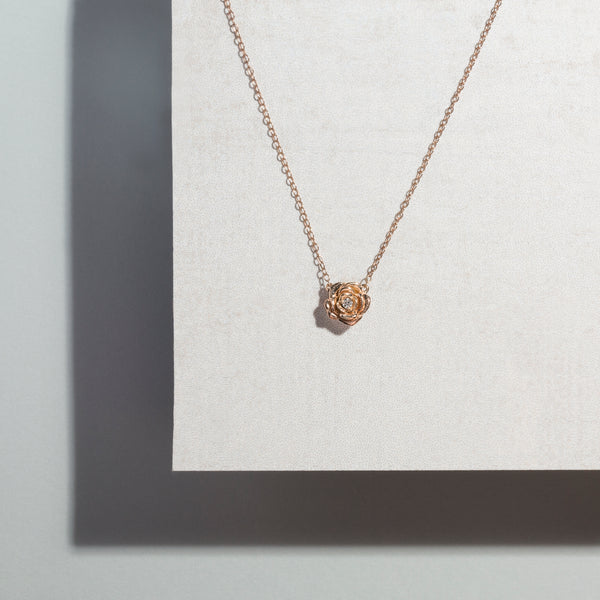 Tea Rose Diamond Necklace // Rose Gold