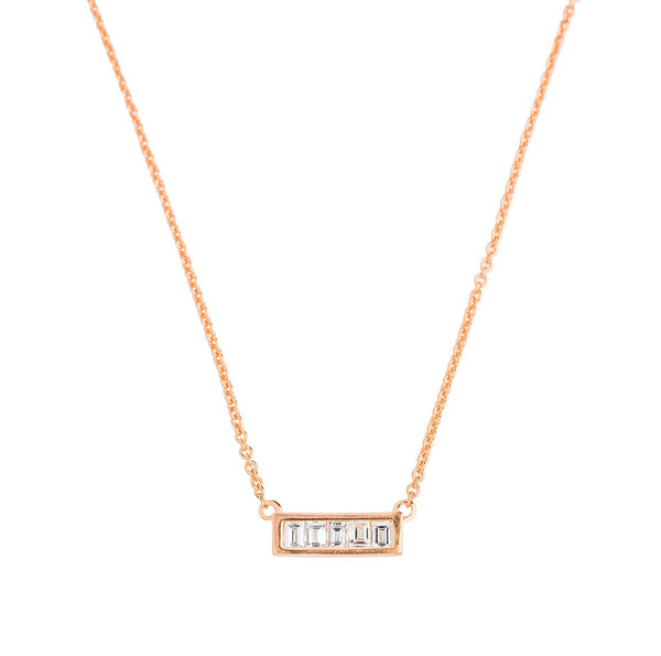 Deco Baguette Diamond Necklace // Rose Gold