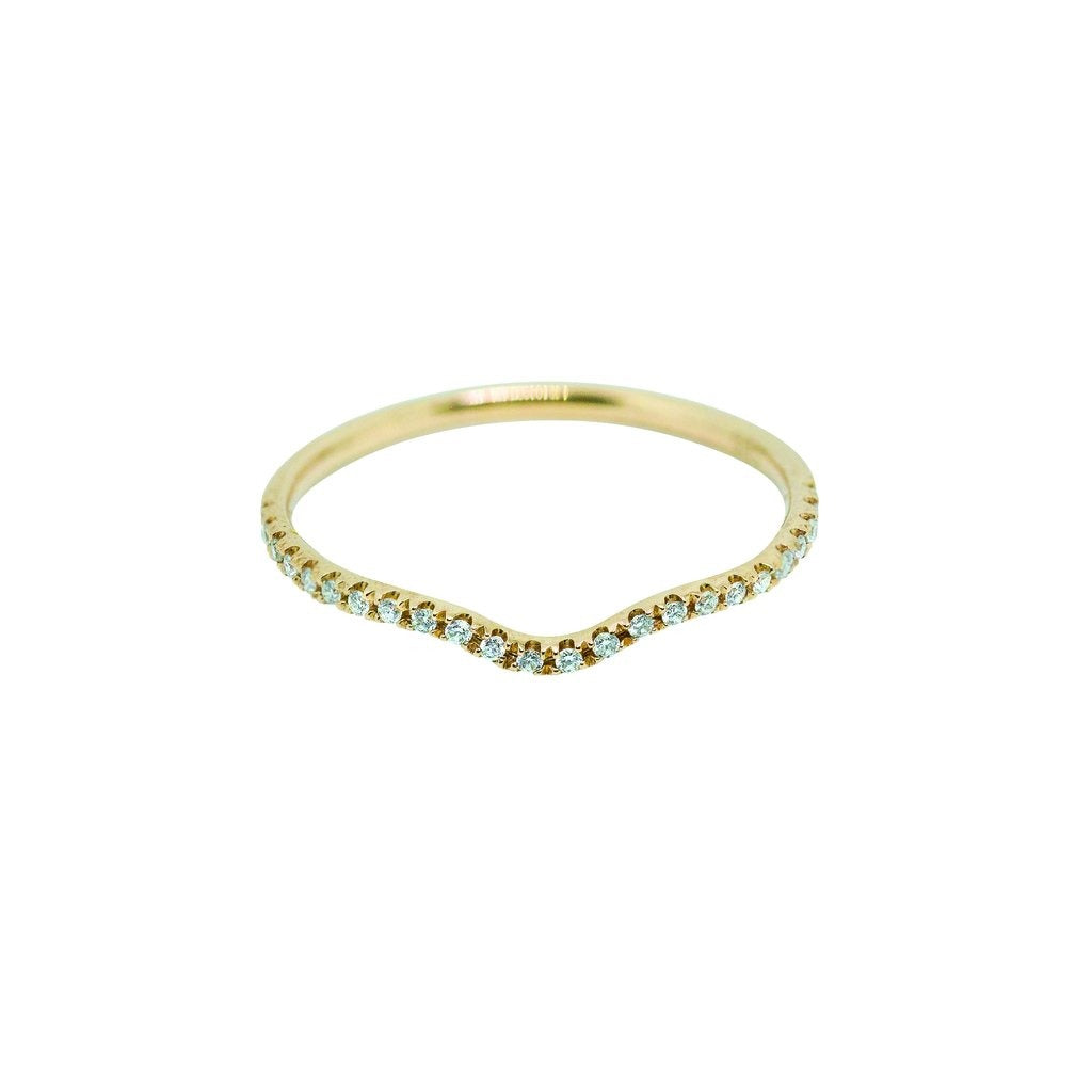 Sutton Contour Diamond Wedding Band // Gold - Lucy & Mui