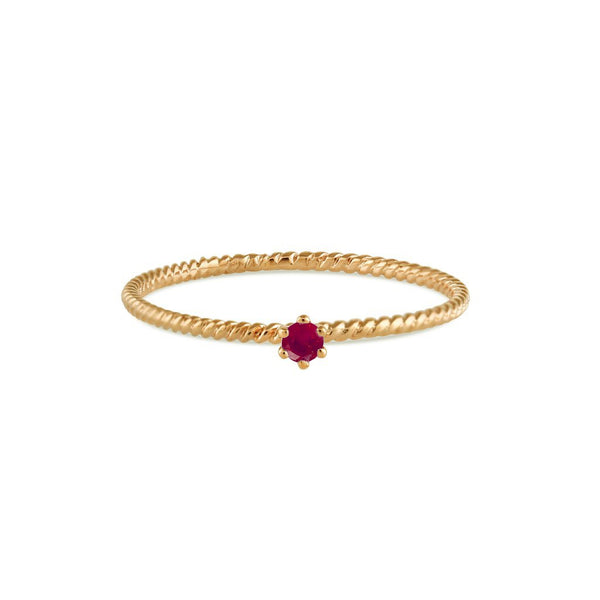 Seis Classic Ruby Twist Ring // Gold