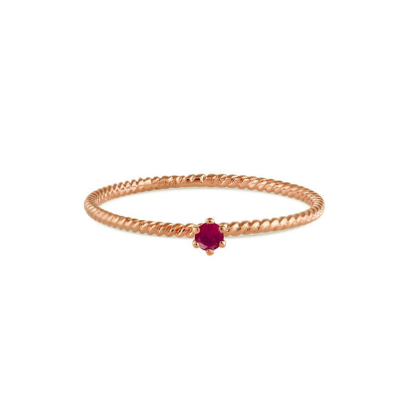 Seis Classic Ruby Twist Ring // Rose Gold