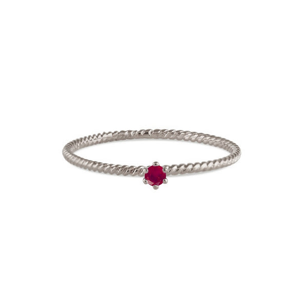 Seis Classic Ruby Twist Ring // White Gold