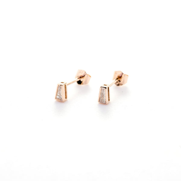 Tapered Baguette Diamond Studs // Rose Gold