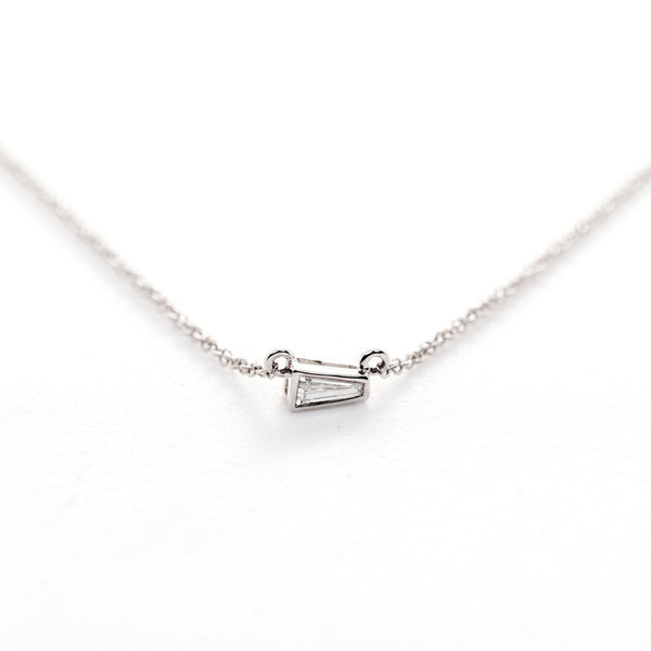 Tapered Baguette Diamond Necklace // White Gold