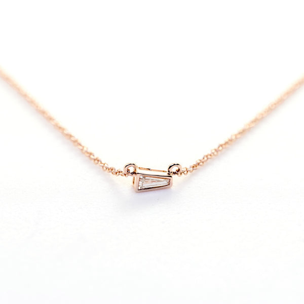 Tapered Baguette Diamond Necklace // Rose Gold