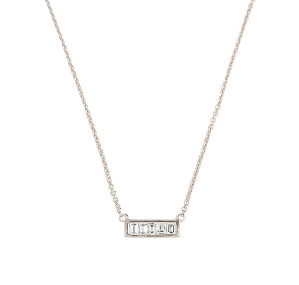 Deco Baguette Diamond Necklace // White Gold
