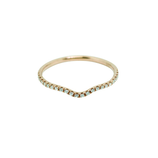 Sutton Contour Diamond Wedding Band // Rose Gold - Lucy & Mui