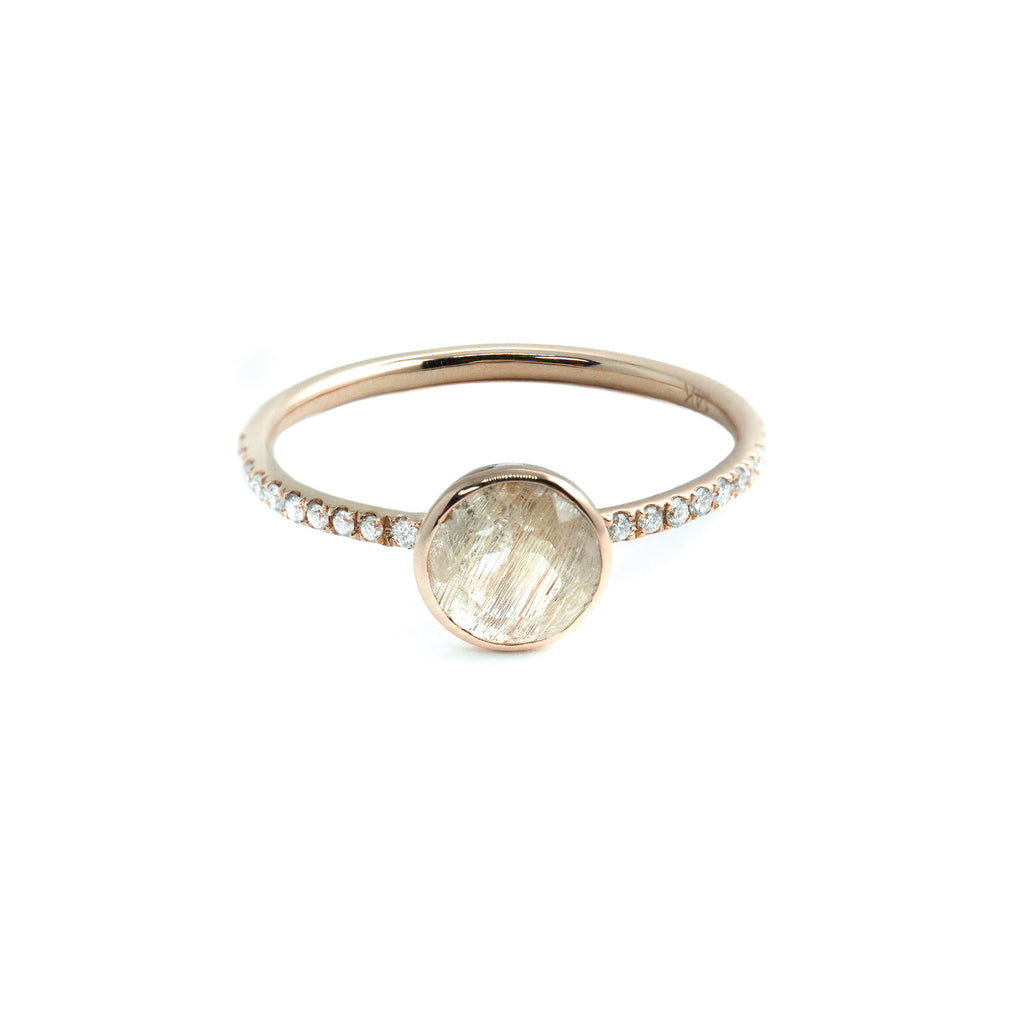 The Gild Quartz Diamond Ring // Rose Gold