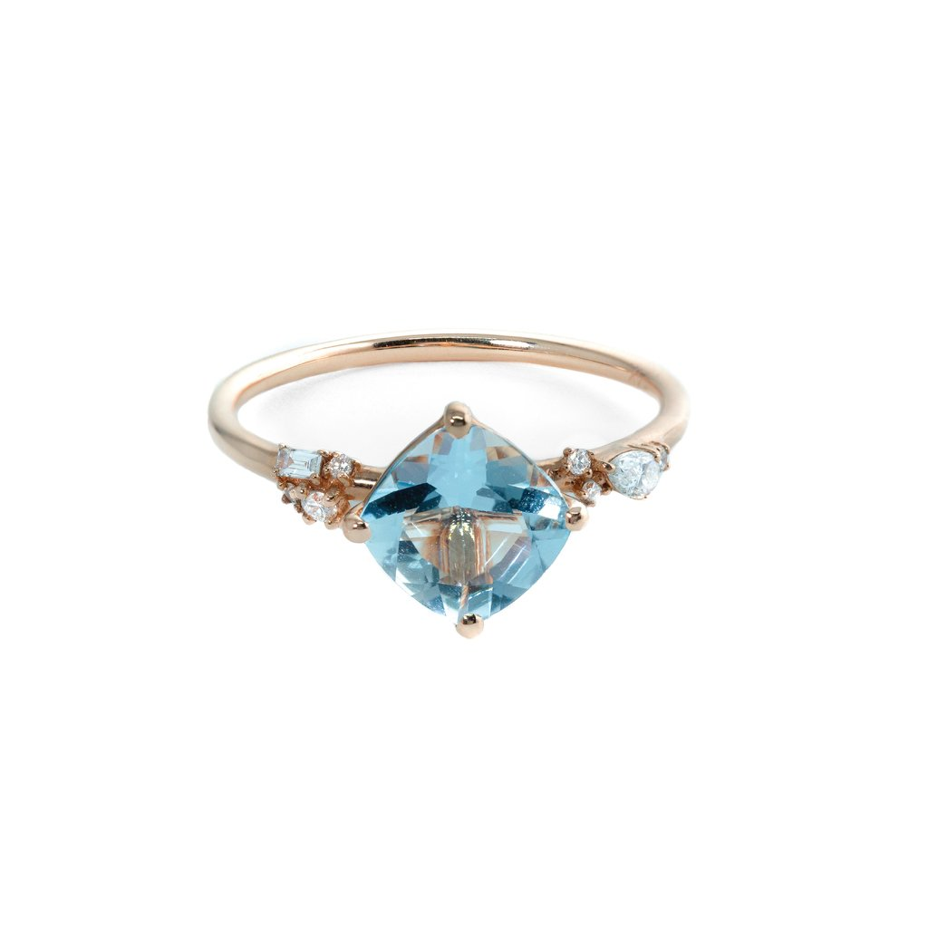 Azure Aquamarine Diamond Ring // Rose Gold - Lucy & Mui