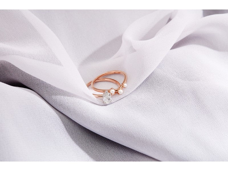 The Pearl Arc Wedding Band // Rose Gold