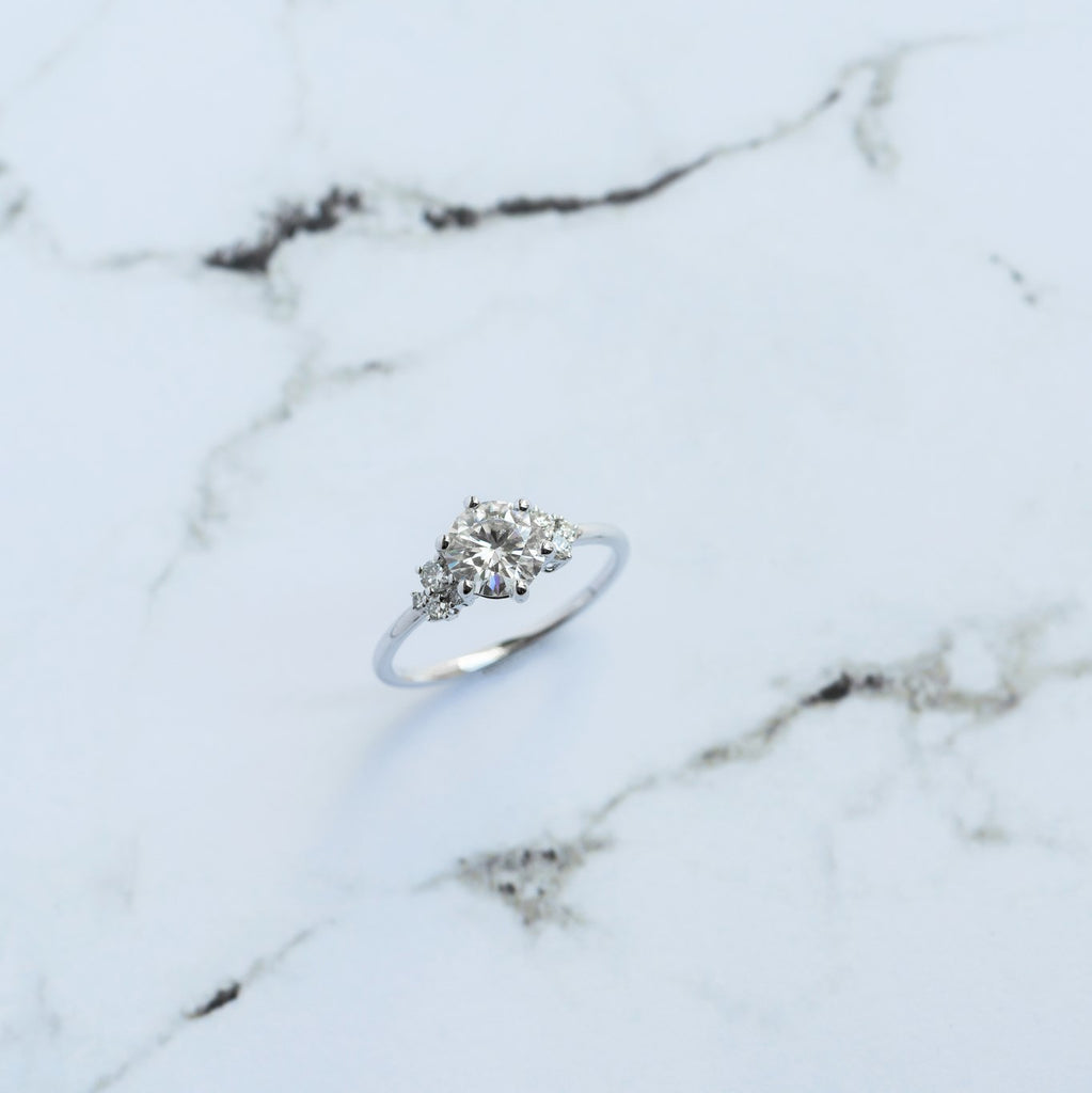 Olive Solitaire Engagement Ring // White Gold