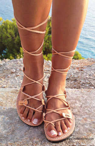 Leather Lace Up Gladiator Sandals at Holliday June