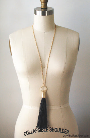 Black and Gold Long Tassel Necklace at Holliday June