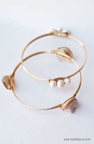 Wire Wrapped Shell Bracelets at Holliday June