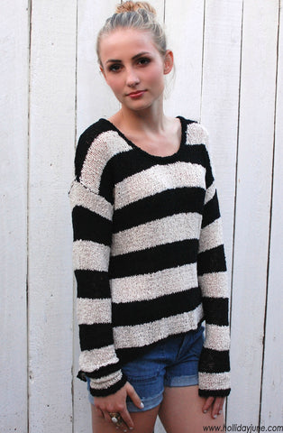 Striped Slouchy Sweater by Olivaceous