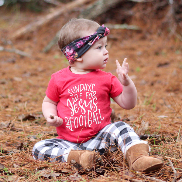 """Sunday's Are For Jesus and Football"" Baby - Toddler Tee (FALL COLORS)"