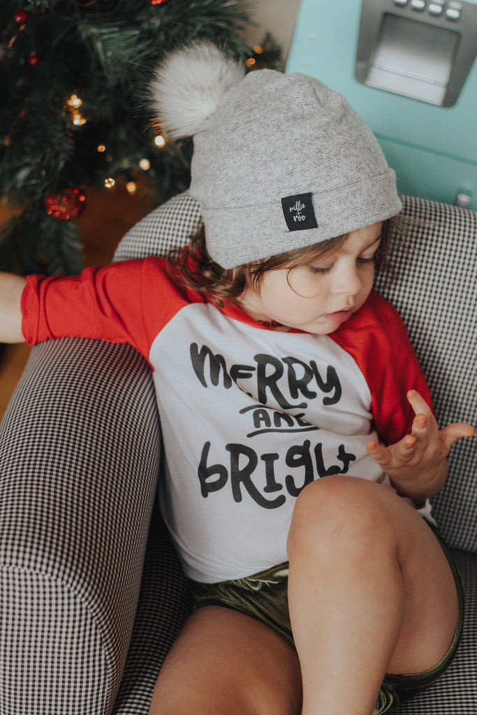 """Merry and Bright"" Baby - Toddler Raglan - Christmas"