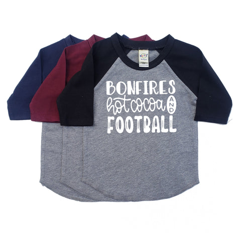 "Bonfires Hot Cocoa And Football"" Baby / Toddler Raglan Tee"