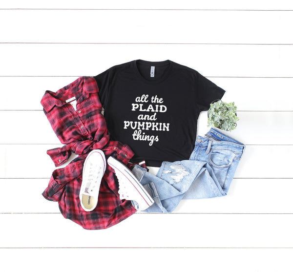 """All The Plaid And Pumpkin Things"" - Next Level Ladies Crop Top T-Shirt - Women's"